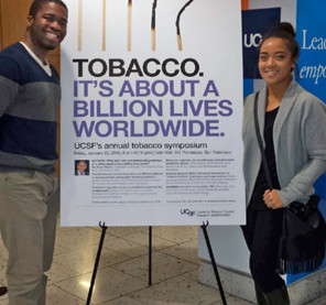Breathe California's E-Cigarette Control Advocacy Manager: Christopher Ndubuizu (left) and Program and Management Associate: Audrey Abadilla (right) at the symposium poster break out session.